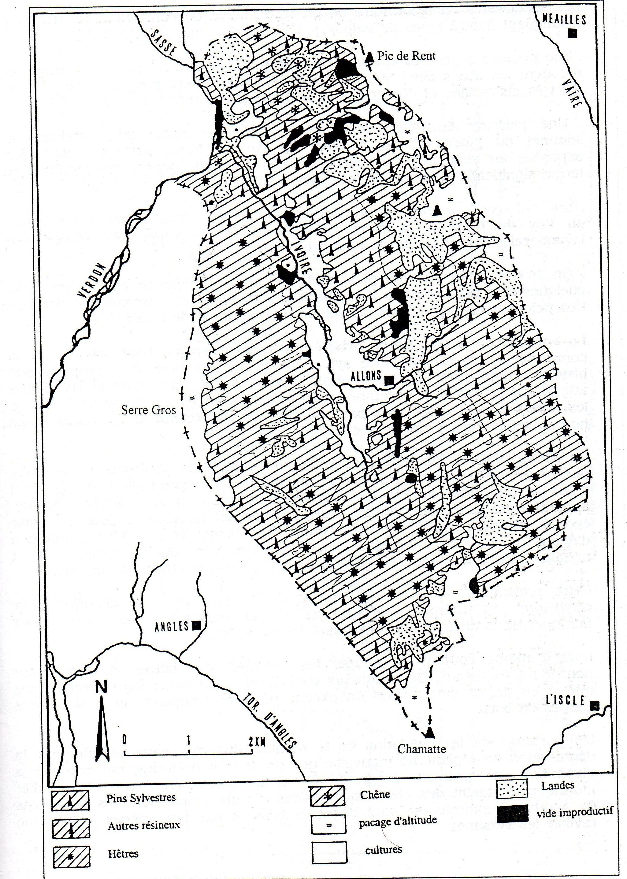 Carte de la végétation : Sources enquête O.N.F.