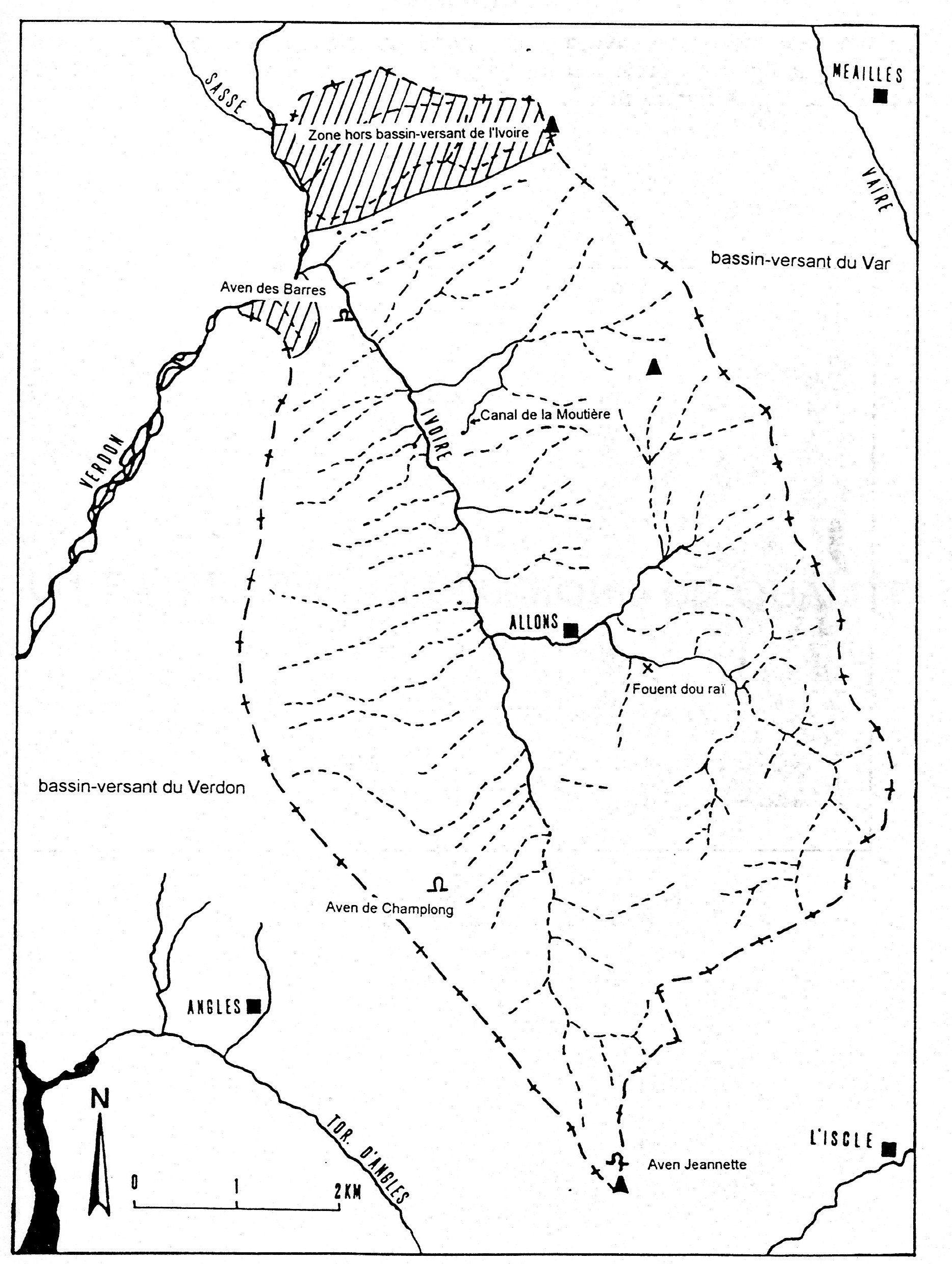 La cellule hydrologique de l'Ivoire : Allons - Sources cartes I.G.N.